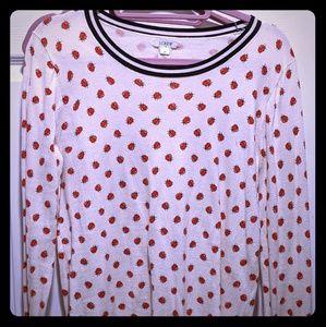 JCrew LightWeight Ladybug Sweater- M